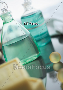 Bottles Of Bath Body Wash & Soap Stock Photo