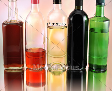 Bottles With Alcohol, Close Up Stock Photo
