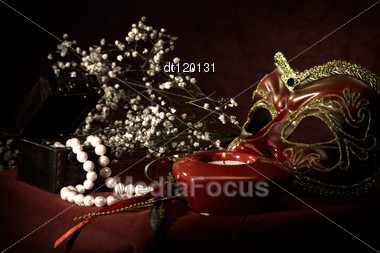 Boudoir. Abstract Still Life Over Red Fabric Stock Photo