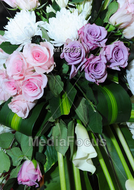 Bouquet Of White And Purple Rose Stock Photo