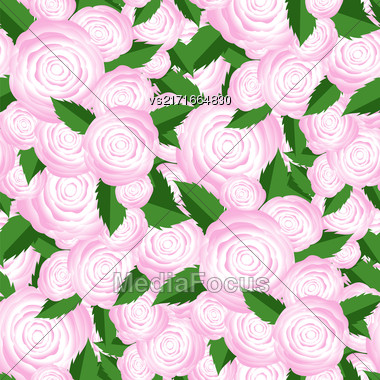 Bouquet Of Roses Random Seamless Pattern. Fresh Floral Background Stock Photo