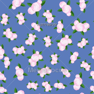 Bouquet Of Roses Randon Seamless Pattern On Blue Background Stock Photo