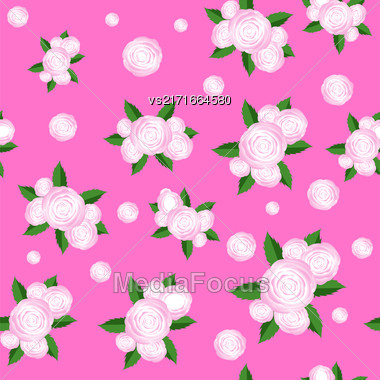 Bouquet Of Roses Randon Seamless Pattern On Pink Background Stock Photo