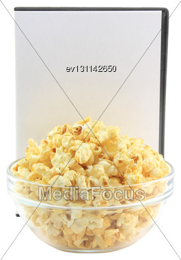 Bowl Full Of Caramel Popcorn With DVD Disk . Isolated Stock Photo