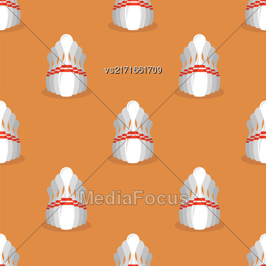 Bowling Pins Isolated On Orange Background. Sport Seamless Pattern Stock Photo