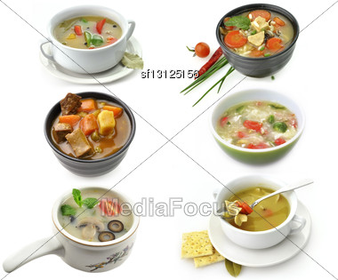 Bowls Of Healthy Soup Stock Photo