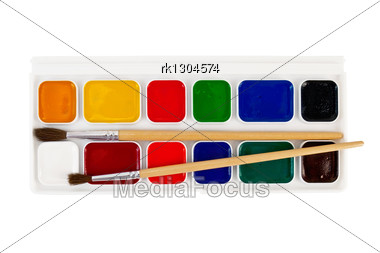 Box Of Paints, Two Brushes Stock Photo