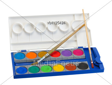 Box Of Watercolor Paints And Brushes Stock Photo