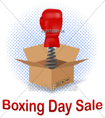 Boxing Day Sale Icon With Red Glove And Open Cardboard Isolated On White Background Stock Photo