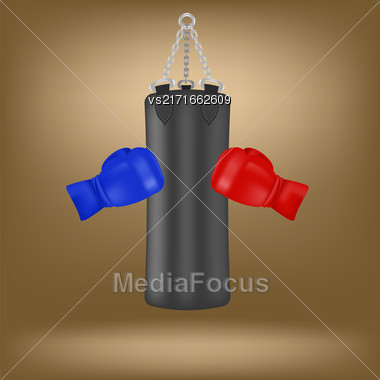 Boxing Gloves And Black Sport Bag Isolated On Brown Background Stock Photo
