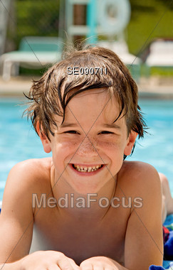 Boy at the Pool Stock Photo