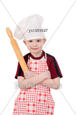 Boy In Chef's Hat Stand Crossed Arms Stock Photo