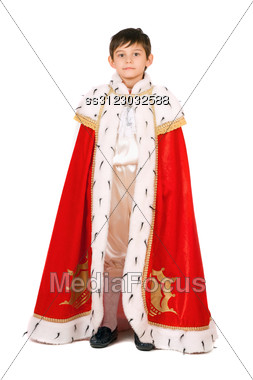 Boy Dressed As A King. Stock Photo