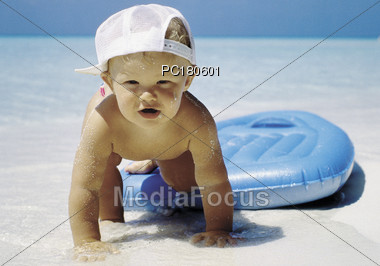 Boy's First Time At The Beach Stock Photo
