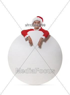 Boy Holding A Poster Stock Photo