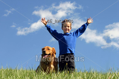 Boy Holding Up Hands Stock Photo