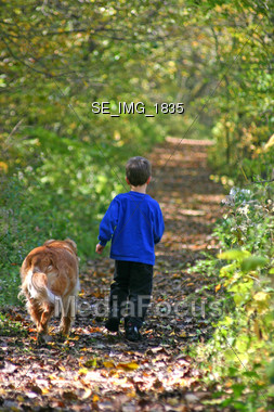 Boy Walking on Path with Dog Stock Photo