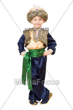 Boy Wearing Oriental Costume. Stock Photo