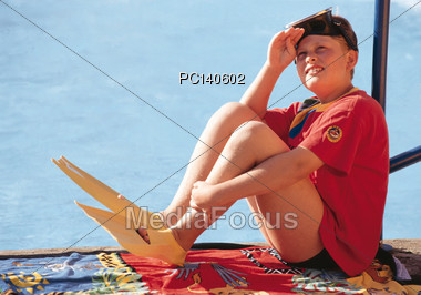 Boy with Snorkeling Gear Stock Photo