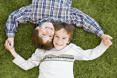 Boys Looking Up Stock Photo