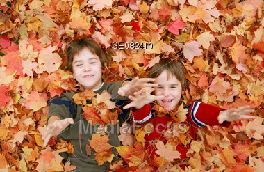 Boys Playing in the Leaves Stock Photo