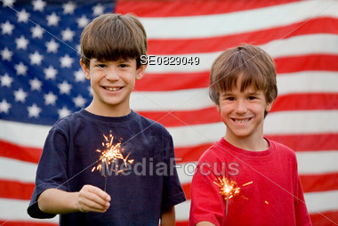 Boys With Sparklers Stock Photo