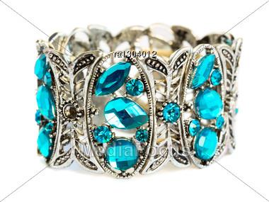 Bracelet With Blue Stones Isolated On White Background. Stock Photo