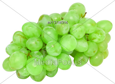 Branch Of Green Grapes . Isolated Over White Stock Photo