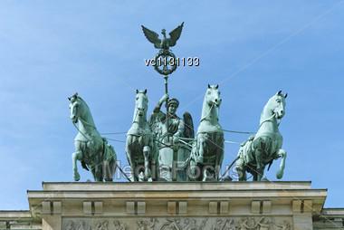 Brandenburg Gate Quadriga (German: Brandenburger Tor), Former City Gate, Landmark Of Germany Stock Photo