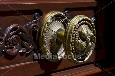 Brass Brown Knocker In A Closed Wood Door Colonia Del Sacramento Uruguay Stock Photo