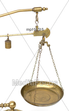 Brass pan weighing scale & pan Stock Photo