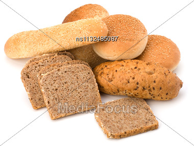 Bread Loafs And Buns Variety Isolated On White Background Stock Photo