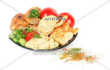 Bread With Pate And Fresh Vegetables Of Tomatoes And Cucumbers Stock Photo
