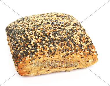 Bread With Sesame And Poppy Seeds Isolated On White Background. Stock Photo