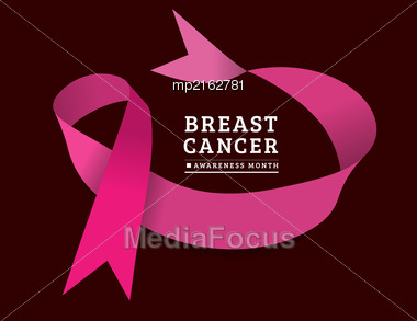 Breast Cancer Awareness Symbol, Isolated On Dark Background. Vector Illustration Stock Photo