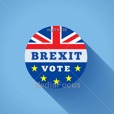 Brexit Vector Illustration With Flags UK And EU On Blue Background Stock Photo