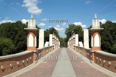 Brick Bridge In Russia In Moscow Stock Photo