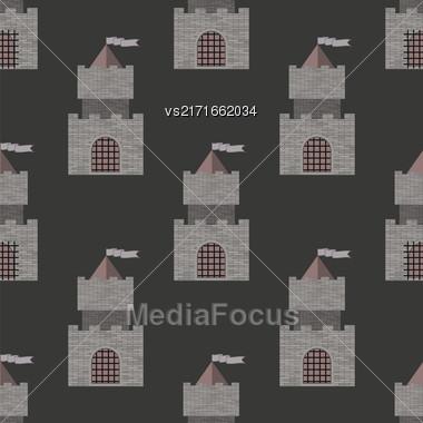 Brick Castle Seamless Pattern On Grey. Retro Tower Background Stock Photo