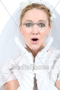 Bride Looking Surprised Stock Photo
