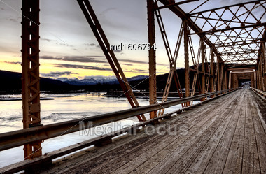 Bridge Over Saskatchewan River Rocky Mountains Canada Stock Photo