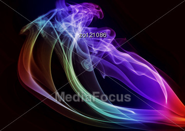 Bright Abstract Smoke On A Black Background Stock Photo