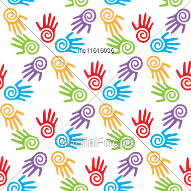 Bright Adults And Kid's Hands, Seamless Background, Vector Illustration Stock Photo