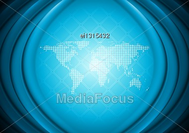 Bright Blue Hi-tech Background With World Map. Eps 10 Vector Illustration Stock Photo