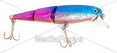 Bright Blue And Pink Wobbler Lure Stock Photo