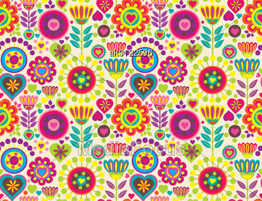 Bright Colorful Funny Vector Seamless Pattern With Flowers Stock PhotoBright Colourful Patterns