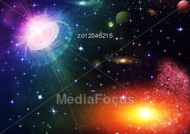 Bright Shone Stars In The Night Dark Blue Sky Stock Photo