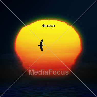 Bright Sun On Sunset Sky With Birds Silhouette, Abstract Background Stock Photo