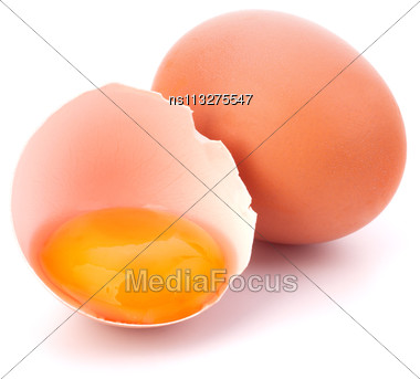 Broken Egg Isolated On White Background Stock Photo