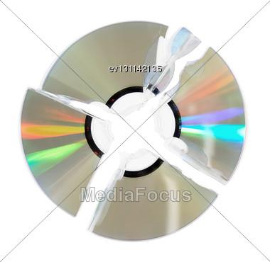 Broken Single DVD(CD) Disc. Isolated Over White Stock Photo