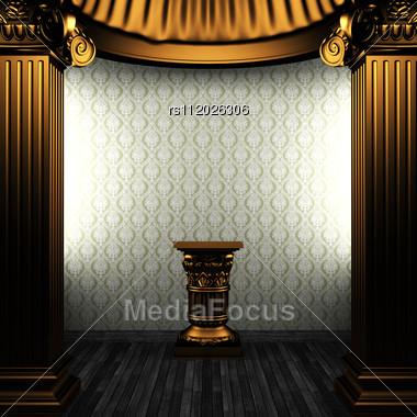 Bronze Columns, Pedestal And Wallpaper Made In 3D Stock Photo